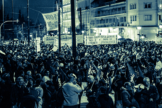 Tag-und-Nacht-Demonstration auf dem Athener Syntagmaplatz, Februar 2012. Foto: Odysseas Gp / CC-BY-SA 3.0