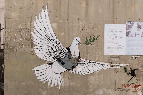 Taube von Banksy, Bethlehem. Foto: Derek Winterburn / CC BY-ND 2.0