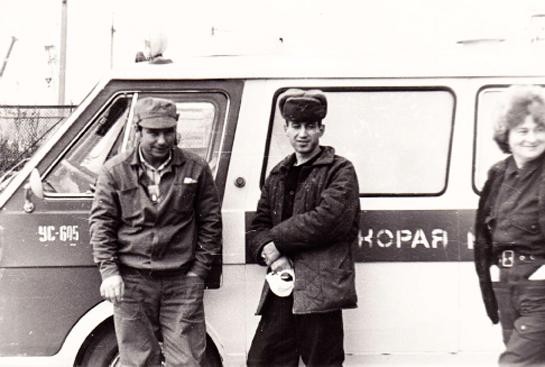 Jacob Stetinger (in der Mitte) war von 6.11. - 20.12.1986 als Kraftfahrer bei der Liquidierung der Havarie in Tschernobyl eingesetzt.