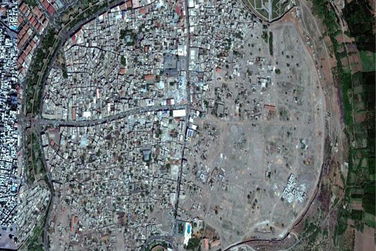 Große Teile von Diyarbakirs Altstadt Sur wurden dem Erdboden gleichgemacht. Luftaufnahme von 2017.